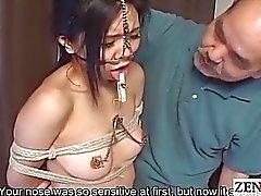 Extreme Japanese BDSM with nose hooks Subtitled