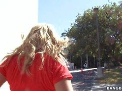 Blonde in jeans Ashley Jensen gives head