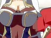 Cute 3d anime princess gets her huge boobs teased