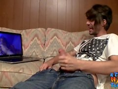 Skinny straight thug jerks off while watching internet porn