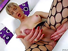 Ts Anna Hickhiman in fishnet pantyhose