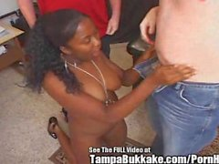 Plump Tit Braces Chick 4 Some Bukkake!