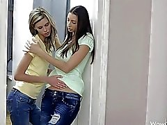 Two skinny teen babes hot lesbian sex