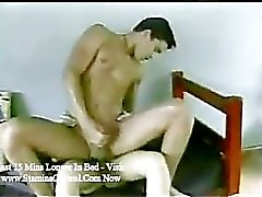 Latino hunk fucks and fucked by shemale