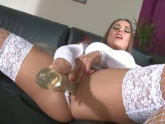 Mea Melone in white stockings loves big glass dildo