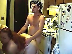 Очень жиров Супруга заниматься сексом в кухне