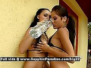 Aletta and Anitta brunette lesbo girls have lesbo kissing and licking pussy