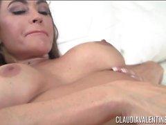 Claudia Valentine Dildo Negro Mojado Masturbación