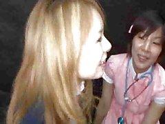 Japanische Mädchen Gokkun bukkake ein