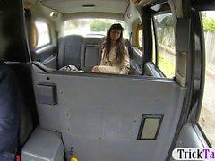 Busty ebony chick slammed in the taxi