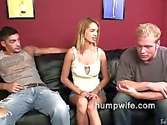 Cuckold blowjob shames her husband while he watches her enjoy another man