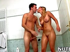 Beautiful teen banged in a shower
