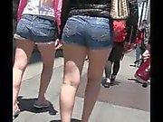 Candid Latin Woman Tight Shorts Bubble butt Street creep shot