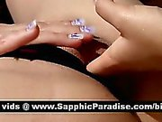 Adorable blonde lesbos fingering and licking pussy and having lesbo sex by the pool