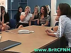 British CFNM girls play with naked guy