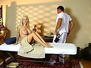 Amazing models on special massage bed