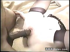 Kinky amateur rides big cock in stockings
