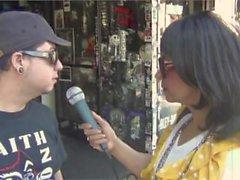 Schnee-Leopard Hollywood-Boulevard AUF LUFT mit Yeena Fisher