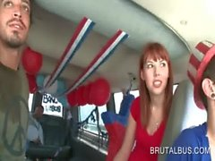 Hot redhead gets talked into fucking in the bus