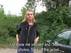 Czech girl Nessy sex in public for money