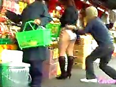 Guy pulls down panties on 38 Jap chicks