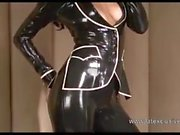 Latex lover Olivias outdoor fetish wear and long rubber boot