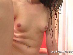 Hot young pissing slut is so damn wild