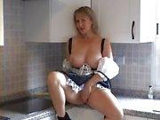 MILF maid kitchen masturbation
