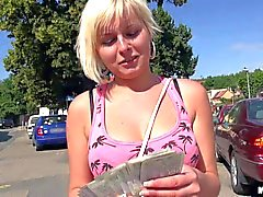 naughty blonde strips in public for cash