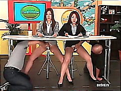 Japanese newsreaders Ayumu Sena and Fuuka Minase squirting live tv.