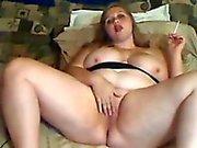 chubby girl smoking