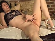 Holly loves to touch her body, as she gently massages her