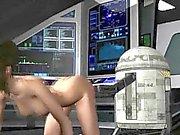 3D-Cartoon brunette Babe immer von R2D2 spielte