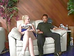 Black guy gets ass fucked by girl with strap on cock and creams her legs