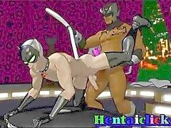 Del hentai la máscara de Muscular Sexo duro alegre