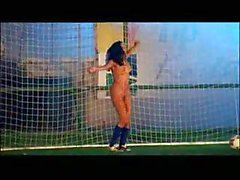 Naked football fan dance