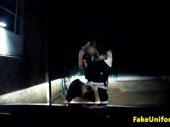 British babe facialized by policeman outdoors