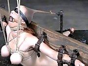 Försedd med munkavle hindras Bystig den under slampa bestraffades
