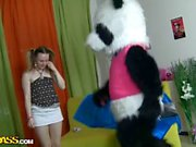 Teens dancing with Panda turns into crazy fuck