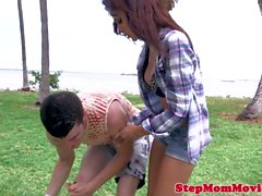 Bigboobs stepmom queened while fucked