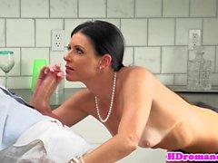 Classy milf sensually sucks before sex