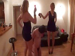 cruel ladies have fun with a slave