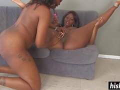 busty lesbians play with a strap-on clip