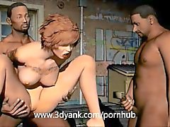Wife is sold to a gang and fucked in 3D