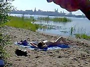 Dickflash - Epic cumshot for nude beachgirl (480p version)