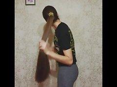 Супер длинная волосатая брюнетка, длинные волосы, волосы