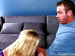 Stacked blonde Tasha Reign seduces her neighbour into fucking