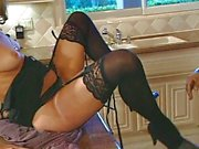 Sexy lingerie babe fucked in the kitchen