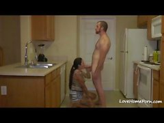 Tattooed Babysitter Fucked In The Kitchen