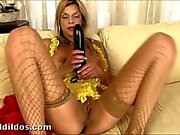 Klarisa punishes her asshole with a big dildo